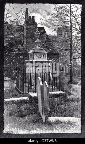 WILLIAM HOGARTH  Tomb of the English artist and  engraver in the churchyard at  Chiswick, West London      Date: - Stock Photo