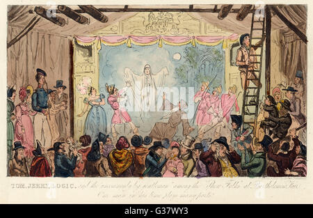 A theatrical sideshow at Bartholomew Fair        Date: 1828 - Stock Photo