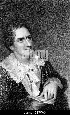 The actor, Edmund Kean, in the role of Hamlet.        Date: 1814 - Stock Photo