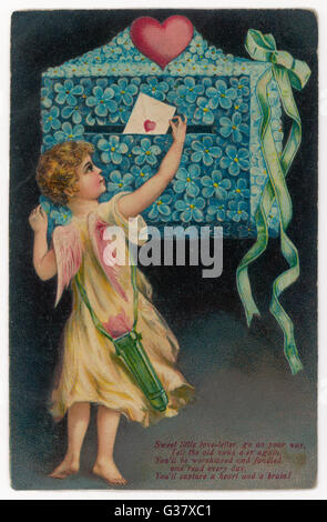 Cupid posts a billet-doux - 'Sweet little love letter, go  on your way...'        Date: 1908 - Stock Photo