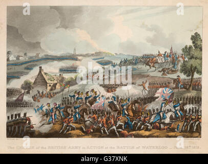 A scene from the battle of Waterloo, 18th June 1815.     Date: 18th June 1815 - Stock Photo