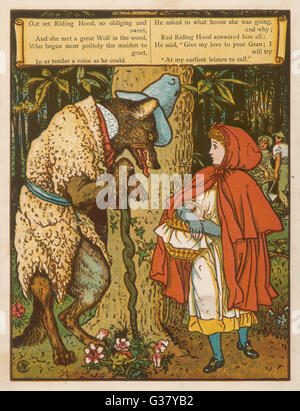 Little Red Riding Hood meets the wolf in the woods. - Stock Photo