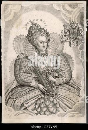 QUEEN ELIZABETH I (1533 - 1603) Reigned 1558 - 1603  Portrait - Stock Photo
