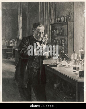Louis Pasteur in his  laboratory         Date: 1885 - Stock Photo