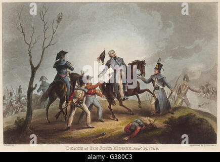 BATTLE OF CORUNNA Sir John Moore successfully  repels the French, enabling  the retreating British to  embark, but - Stock Photo