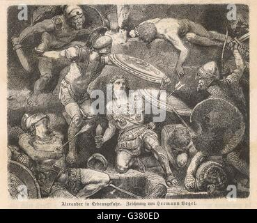 ALEXANDER THE GREAT in mortal danger         Date: 356 - 323 BC - Stock Photo