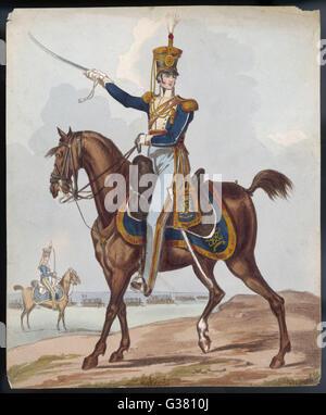 Cavalry officer          Date: circa 1830 - Stock Photo