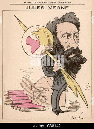 JULES VERNE  French science fiction  writer       Date: 1828 - 1905 - Stock Photo