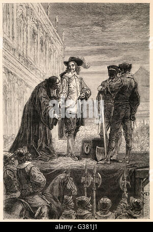 Charles I on the scaffold at  Whitehall prepares to be  beheaded        Date: 30 January 1649 - Stock Photo