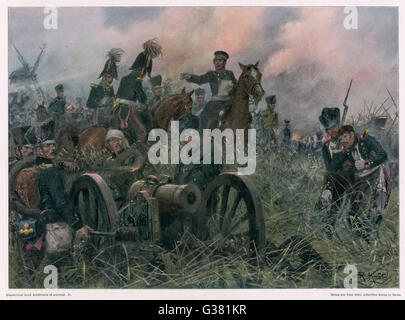 Gneisenau at the battle of  LIGNY, where Napoleon defeats  Blucher's Prussians       Date: 16 June 1815 - Stock Photo
