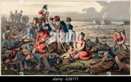 Some of the dead at the Battle of Waterloo, 1815.     Date: 18th June 1815 - Stock Photo