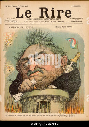 CECIL RHODES Statesman, entrepreneur and  imperialist in South Africa, caricatured by Leandre       Date: 1853  - Stock Photo