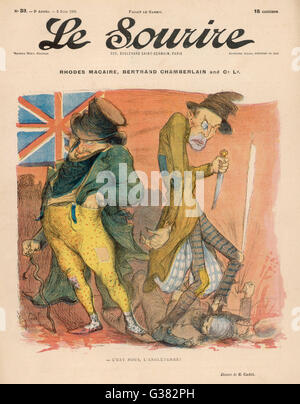 A perfidious John Bull in league with Jack the Ripper -  this is the true nature of England.  Satire on Cecil  Rhodes - Stock Photo