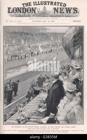 The London Olympic Games are opened  by King Edward VII, July 1908     Date: July 1908 - Stock Photo
