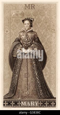 MARY TUDOR QUEEN OF ENGLAND  Daughter of Henry VIII and  Catherine of Aragon       Date: 1516 - 1558 - Stock Photo