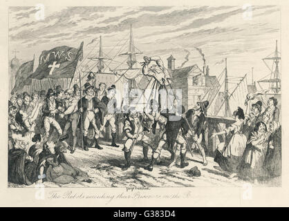 'The Rebels executing their  Prisoners on the Bridge at  Wexford'        Date: 21st June 1798 - Stock Photo