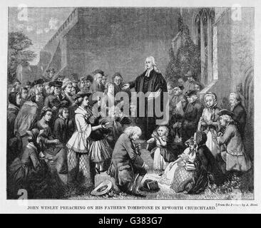 JOHN WESLEY  English religious leader  preaching on his father's  grave, Epworth      Date: 1703 - 1791 - Stock Photo