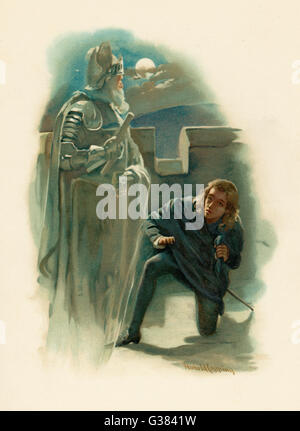 Hamlet with the ghost of his  father on the battlements of  Elsinore - Stock Photo