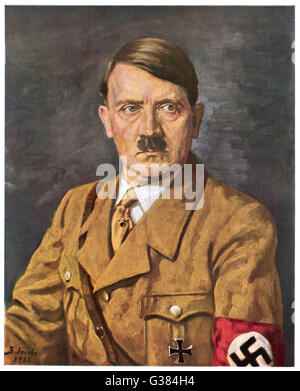 German politician and leader, Adolf Hitler (1889-1945).     Date: 1933 - Stock Photo