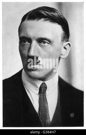 German politician and leader, ADOLF HITLER,  in a portrait from 1923.     Date: 1923 - Stock Photo