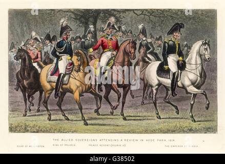 The allied soverigns attending  a review in Hyde park. From  the left: Wellington, King of  Prussia, George IV and - Stock Photo