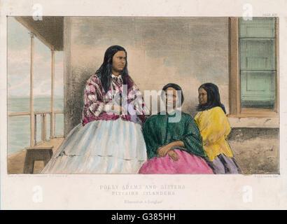 On Pitcairn Island, some of  the descendants of John Adams,  one of the mutineers - Stock Photo