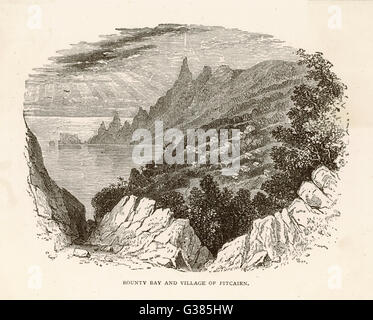 Bounty Bay and the village of  Pitcairn on Pitcairn Island,  where the mutineers settled        Date: 1789 - Stock Photo