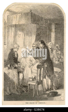 DR SAMUEL JOHNSON  On his deathbed        Date: 1709 - 1784 - Stock Photo