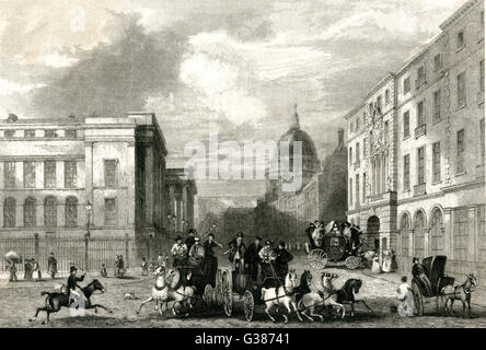 The General Post Office, St. Martins-le-Grand, London        Date: 1840s - Stock Photo