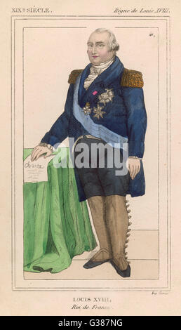 LOUIS XVIII OF FRANCE -  French Monarch with the  Constitution granted by  himself at hand      Date: 1755 - 1824 - Stock Photo