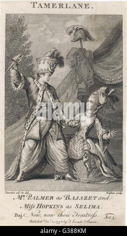 TAMERLANE  Mr Palmer as Bajazet and Miss  Hopkins as Selima in Act V: 'Now, now thou traitress..'      Date: 1776 - Stock Photo