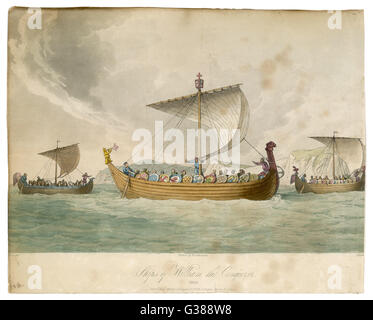 Ships of William the Conqueror  sailing to battle         Date: 1066 - Stock Photo