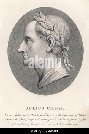 GAIUS JULIUS CAESAR Roman Emperor         Date: 100 - 44 BC - Stock Photo