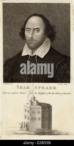 WILLIAM SHAKESPEARE  English playwright and poet. Rectangular portrait with a  view of the Globe Theatre  underneath. - Stock Photo