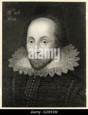 WILLIAM SHAKESPEARE (1564 - 1616) Playwright and poet.  Rectangular portrait. - Stock Photo