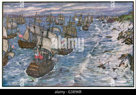 BATTLE OF QUIBERON BAY Hawke drives a French fleet  under Conflans into Quiberon  Bay on the French coast, then - Stock Photo