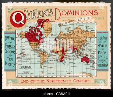 A map of the world, showing  the British Empire coloured  in red at the end of the  nineteenth century.      Date: - Stock Photo