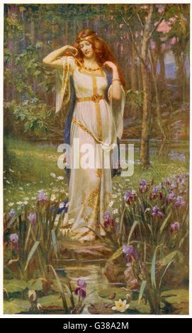 Freyja and the necklace. - Stock Photo