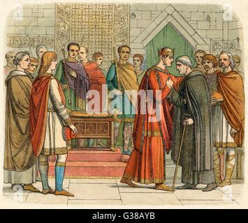 William I meets with the  English leaders        Date: Christmas 1067 - Stock Photo