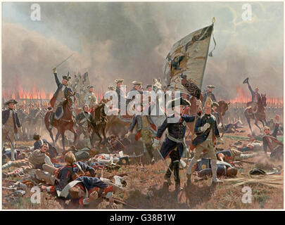 BATTLE OF ZORNDORF Friedrich der Grosse leads his  soldiers at the Battle of  Zorndorf, defeating the  Russians - Stock Photo