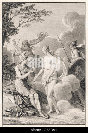 Paris is invited to choose  between Hera, Aphrodite and  Athena : by giving the Apple  of Discord to Aphrodite he - Stock Photo