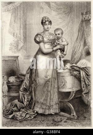MARIE-LOUISE OF AUSTRIA second wife of Napoleon I with their son le Roi de Rome        Date: 1791 - 1847 - Stock Photo