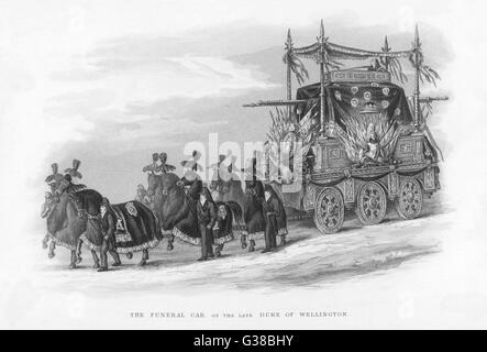 The funeral car which carried the corpse of the Duke of Wellington to its final resting-place in St Paul's cathedral, - Stock Photo