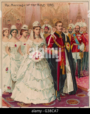 The marriage of Edward VII  (then the Prince of Wales) to Princess Alexandra of  Denmark, St George's Chapel, Windsor. - Stock Photo