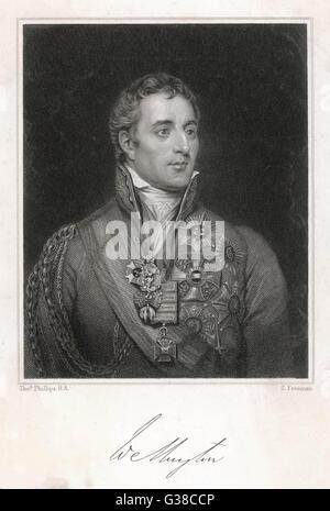 DUKE OF WELLINGTON -  formal portrait, aged circa 40        Date: 1769 - 1852 - Stock Photo