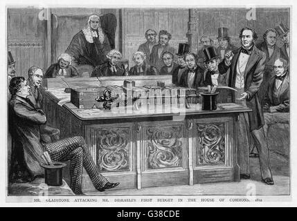 William Gladstone attacks  Benjamin Disraeli's first  budget speech, which had  lasted five hours...      Date: - Stock Photo