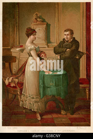 Napoleon consults the  celebrated fortune-teller,  Madame Lenormand, who  accurately foresees his  destiny      - Stock Photo