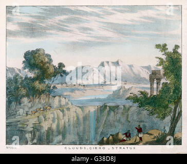 A rocky landscape with cirro- stratus clouds.        Date: 1849 - Stock Photo