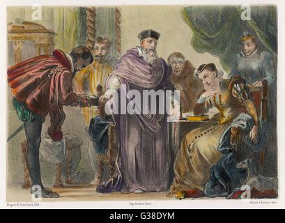JEAN NICOT French diplomat who introduced tobacco from Portugal into  France, depicted presenting it  to Catherine - Stock Photo
