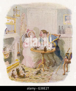 Mr Bumble and Mrs Corney  taking tea.         Date: First published: 1836-37 - Stock Photo